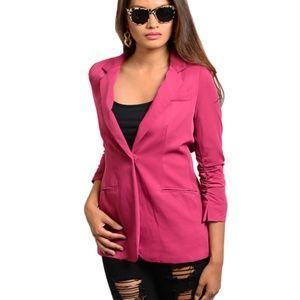 Pink 3/4 length sleeve blazer
